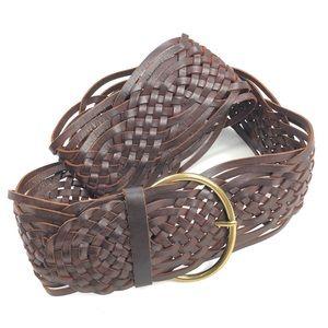 Tarnish   Genuine Leather Woven Wide Belt Boho